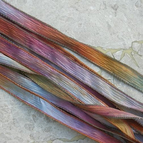 Desert Bloom Hand Dyed Silk Ribbon, JamnGlass Ribbons, Pink Blue TerraCotta Colors