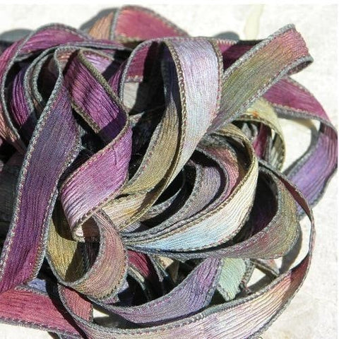Wine and Roses Crinkle Silk Ribbons, Hand Dyed Silk Strings, JamnGlass Ribbon