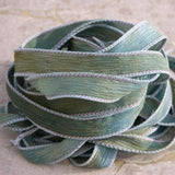 Sea Breeze Silk Ribbons Hand Dyed Watercolor Blue Green Brown For Jewelry