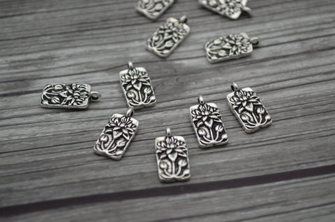 Floating Lotus Charms, TierraCast Antique Silver, Qty 4 to 20, Lotus Charms, 17mm, Yoga Meditaton Charms