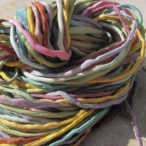 SOFTER SHADES Silk Cord, Silk Cording, Bulk Assortment 10 to 50 Hand Dyed Hand Sewn 2-3mm Silk Strings, Jewelry Making Craft Cords - LakiKaiSupply