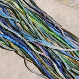 BLUES GREENS WATERCOLORS Silk Cords Qty Bulk 25 Hand Dyed Hand Sewn Assortment Kumihimo Cords, Necklace or Bracelet Wraps