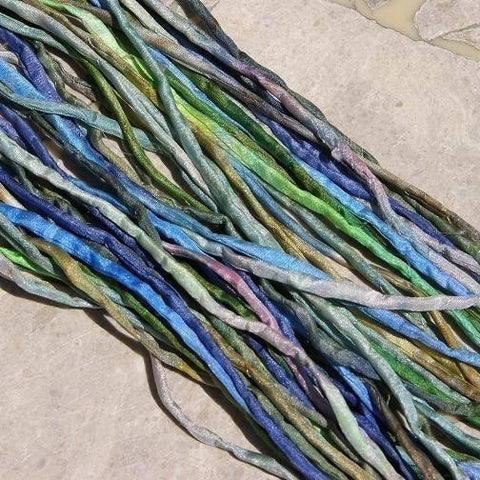 BLUES GREENS WATERCOLORS Silk Cords Qty Bulk 25 Hand Dyed Hand Sewn Assortment Kumihimo Cords, Necklace or Bracelet Wraps - LakiKaiSupply