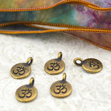 OM Charms, Antique Brass, TierraCast, Om Pendants, Tiny Om Charm Drops, Bronze, Qty 4 to 20, Yoga Meditaton Wrap Bracelet Charms