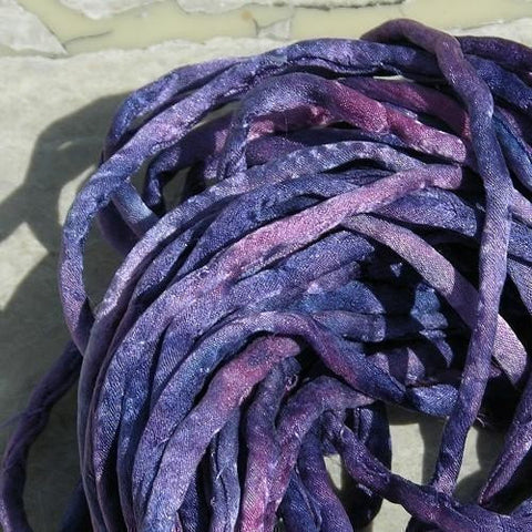 SUNSET BEACH Silk Cords, Hand Dyed 3-4mm Silk Cording Jewelry Necklace Cord Wrist Wraps, Purple Pink Lilac Navy