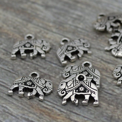 Silver Elephant Charms, TierraCast Gita Elephant Pendants, Antique Silver, Double Sided Charms 14mm x 12mm  Tierra Cast Elephant Charm Drops