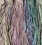 Silk Cords, Hand Dyed Hand Sewn Multi Color Silk Cording