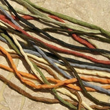 SAFARI NEUTRALS Silk Cords, Silk Cording Assortment, 2-3mm, Black Ecru Brown Green Terracotta Sunflower, Hand Dyed, Jewelry Craft Supplies