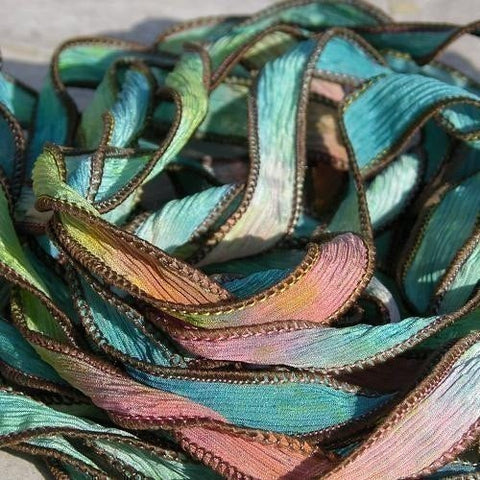 Summer Sizzle Silk Ribbons, Crinkle Silk Ribbon, Hand Dyed JamnGlass Ribbon