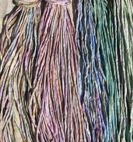 Jelly Beans Silk Cords, Pick 6 Hand Dyed Hand Sewn Silk Cording Multi Colors Strings, Jewelry Making Silk Cords