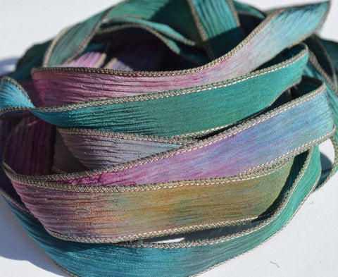 WIldwoods silk ribbons - Hand dyed watercolor ribbon - Qty 5 handmade tie dyed silk strings - Make great necklaces or bracelet wraps