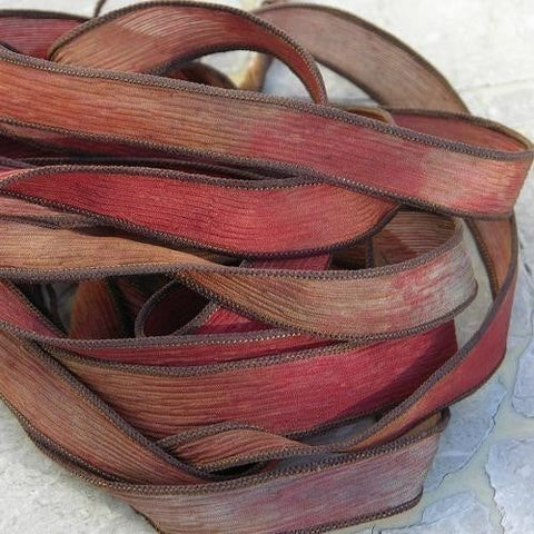 Rustic Barn Qty 5 Silk Ribbons Watercolor Hand Sewn and Dyed Rust Brown Tan, Wholesale Bulk Ribbons for Jewelry Wraps