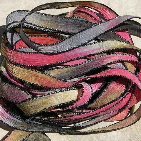 Southwest Red Hand Dyed Silk Ribbons, Southwestern Ribbon Color Black Brown Red Tan Bridal Bouquet Trim Bracelet Wraps Stringing Supplies
