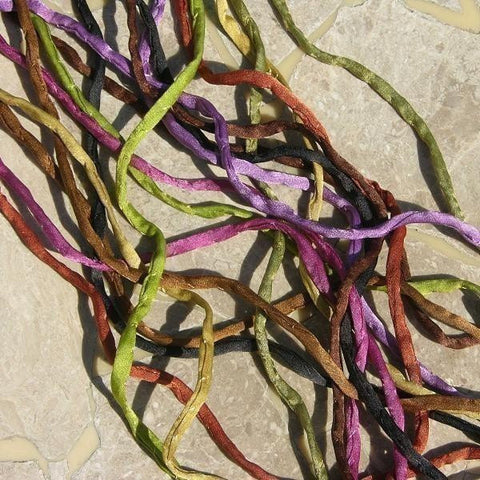 ROMANCE Silk Cords Assortment, Hand Dyed Hand Sewn Qty 9 Silk Cords, Jewelry Cording, 3-4mm Thick