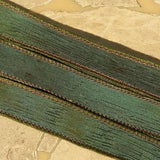 Mysterious Water Silk Ribbons, Hand Dyed 5 Silk Strings, Handmade Crinkle Ribbon, Deep Greens Aqua Brown, Jewelry Making Stringing Supplies