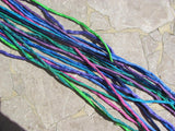 ISLAND RETREAT Brights Silk Cord Assortment 2-3mm Hand Dyed Hand Sewn Cording, Bulk 10 to 100 Strings for Kumihimo Braids, Jewelry and Crafts