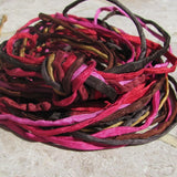 Twigs and Berries Silk Cords, Hand Dyed Hand Sewn Silk Cording