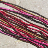TWIGS & BERRIES Silk Cords, Silk Strings Assortment, Hand Dyed Hand Sewn 2-3mm, Bulk Qty 10 to 50 Kumihimo Braids Jewelry Bracelet Wraps