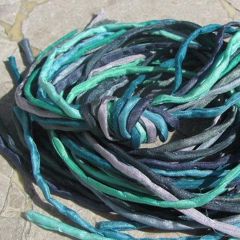 MINT LEAVES Assortment Silk Cord 2-3mm Hand Dyed Hand Sewn Silk Cords, Qty 10 to 100, Wholesale Bulk, Green, Gray, Blue Silk Strings