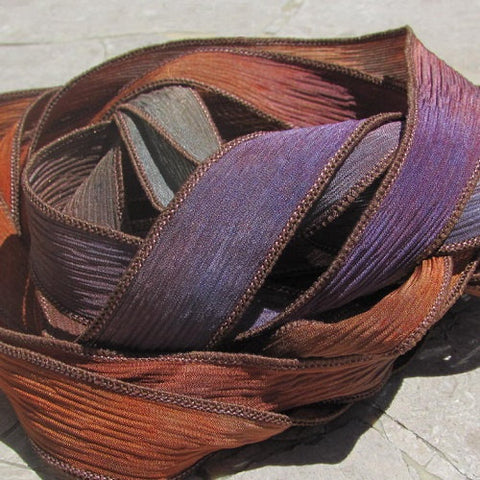 Late Harvest Silk Ribbons, Hand Dyed Crinkle Silk, JamnGlass Ribbon
