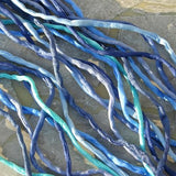 BLUES SILK CORDS,  Hand Dyed Silk Cording, Gorgeous Silk Strings Assortment Includes Turquoise Navy Baby Blue Jean Periwinkle Sapphire
