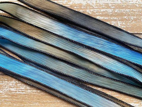 BLUE EYES Silk Ribbon, Hand Dyed Silk Ribbon Strings Blue Gray Tan Brown Black, Great for Jewelry or Crafts, Bracelet Wraps