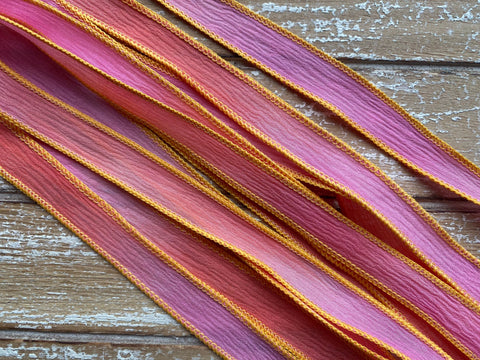 WOW Silk Ribbons Hand Dyed Sewn Crinkle Silk Strings, Qty 5 Pink Orange Coral Handmade for Bracelet Wraps or Necklaces