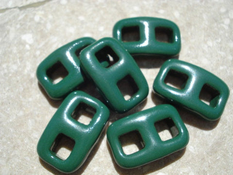 Evergreen Green Button Clasp, Two Hole Clasp Qty 1, All-One-Piece, Toggle Clasp, Great Ribbon Clasps, Spruce Green