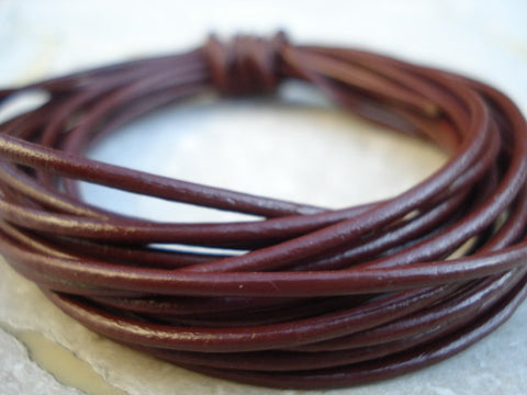 Brown Leather Cord, 2mm Round Leather Cording, Chocolate