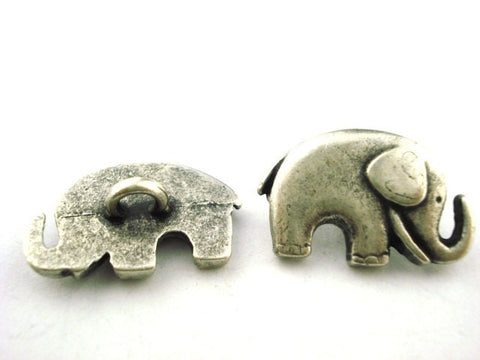 Lucky Elephant Metal Buttons, Antique Silver, Button Clasps, Leather Wrap Components