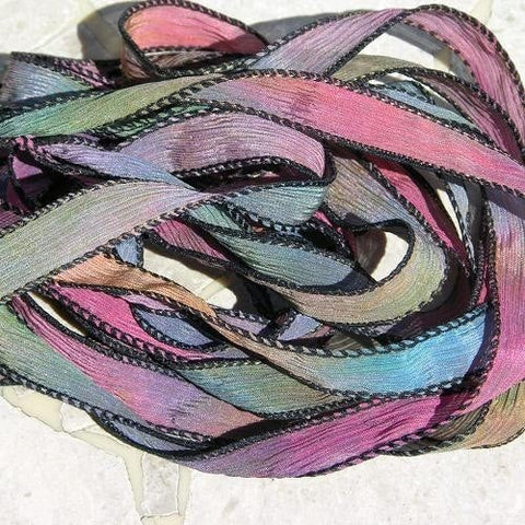 Chasing Rainbows, Hand Dyed Silk Ribbon, Crinkle Silk