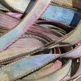 SOFTER SEA LIFE Silk Ribons, Hand Dyed Hadmade Silk Ribbons, Ties Watercolor Blue Green Brown Purple
