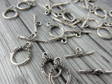 BUTTERFLY Clasp Sets, Qty 2 Sets, Antique Silver Tierracast, Silver Plated Lead Free Pewter, Toggle Clasps for Jewelry