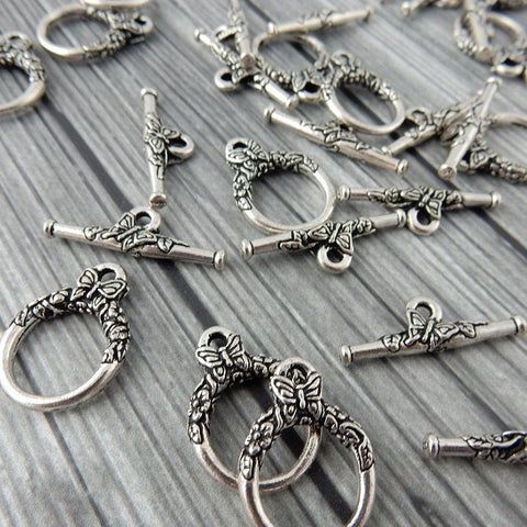 BUTTERFLY Clasp Sets, Qty 2 Sets, Antique Silver 20mm Tierracast, Silver Plated Lead Free Pewter, Toggle Clasps for Jewelry