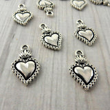 SACRED HEART MILAGRO Charms, Antique Silver, Tierracast, Day of The Dead, Valentines Day, Love Drops, Viva Mexicana, Tierra Cast Charm