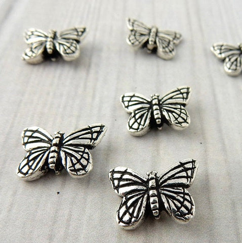 Monarch Butterfly Charms, TierraCast Antique Silver, Butterfly Drops, Qty 4, Tierra Cast Charm, 11mm - LakiKaiSupply