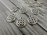 Round Celtic Knot Charms, TierraCast Small Charm Drops, Antique Silver