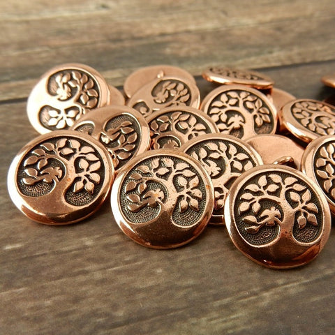 Copper Bird in a Tree Buttons, TierraCast Pewter, Metal Buttons