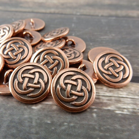 Celtic Knot Buttons, TierraCast, Antique Copper, Round Metal Button