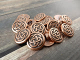 CELTIC KNOT Metal Buttons, Tierracast Buttons, 16mm Antique Copper Round Buttons, Shank Button, Great for Leather Wraps or Focal Clasps
