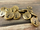 TierraCast Metal Buttons, TREE Of LIFE Button 15mm Qty 4 to 20 Antique Brass Round Buttons Shank Buttons Great Leather Wraps or Focal Clasps