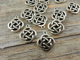 Open CELTIC KNOT Charms, Antique Silver, TierraCast Pendants, Knotwork, Qty 4 to 20, Yoga Meditaton Knot Work Charms