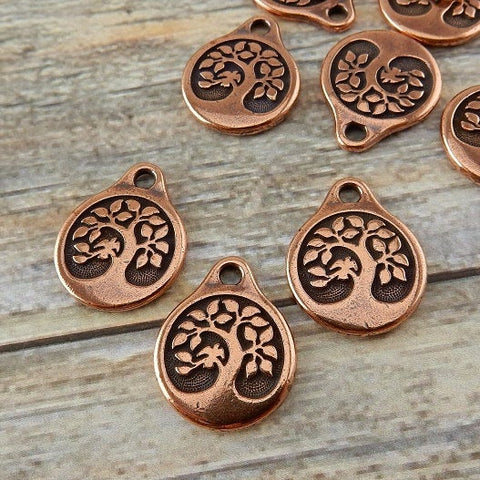 BIRD in a Tree Charms, Tierracast, Antique Copper, 19.5mm Tree of Life Pendants, Tierra Cast Meditation Yoga Wrap Bracelet Charms