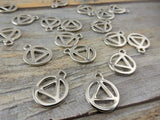 RECOVERY Charms, Qty 4 to 20 Recovery Symbol Charm Pendants, Tierracast, Bright Rhodium, Drops