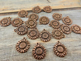 SUNFLOWER Charms, Antique Copper, Tierracast, Flower Charm Drops, Tierra Cast Pendants