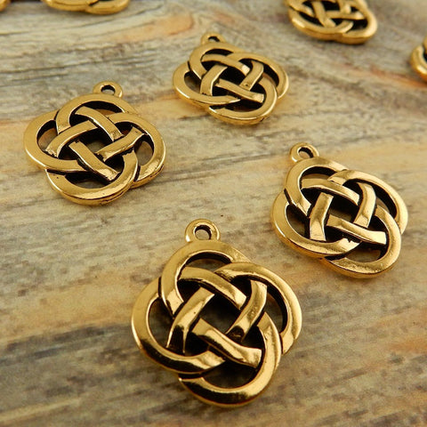 Open CELTIC KNOT Charms, Antique Gold, TierraCast Knotwork Pendants, Qty 4 to 20 Charms, Yoga Meditaton Knot Work Charms