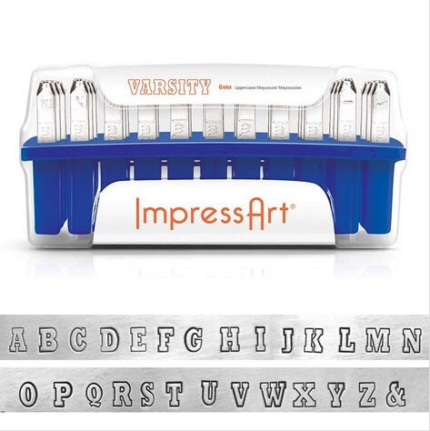 ImpressArt Stamps,  VARSITY Metal Stamps Kit, Metal Stamp Set, Hand Stamping, Uppercase Alphabet 6mm Team Sports Lettering Outline 1/4""