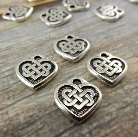 Celtic Heart Charms, Antique Silver, Tierracast, 14mm Double Sided Celtic Knot Heart Pendants, Tierra Cast, Small Heart Drops