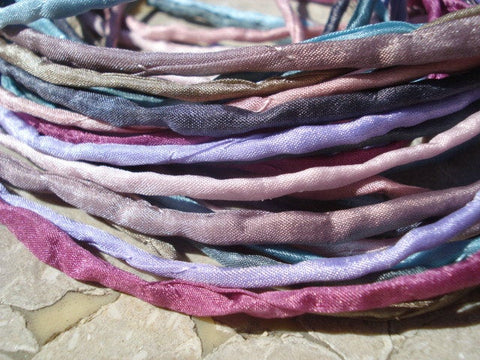 Cool Soft Silk Cords, Hand Dyed 3mm Silk Cording, Stringing Supplies