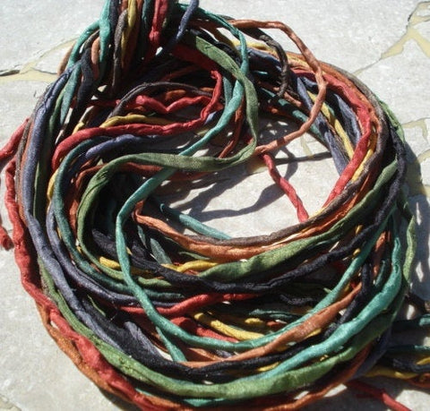 Warm Earthy Silk Cord Assortment 2-3mm Hand Dyed Hand Sewn Cording Bulk 10 to 50 Strings, Earthtone Silk Cords, Brown Green Yellow Gray - LakiKaiSupply